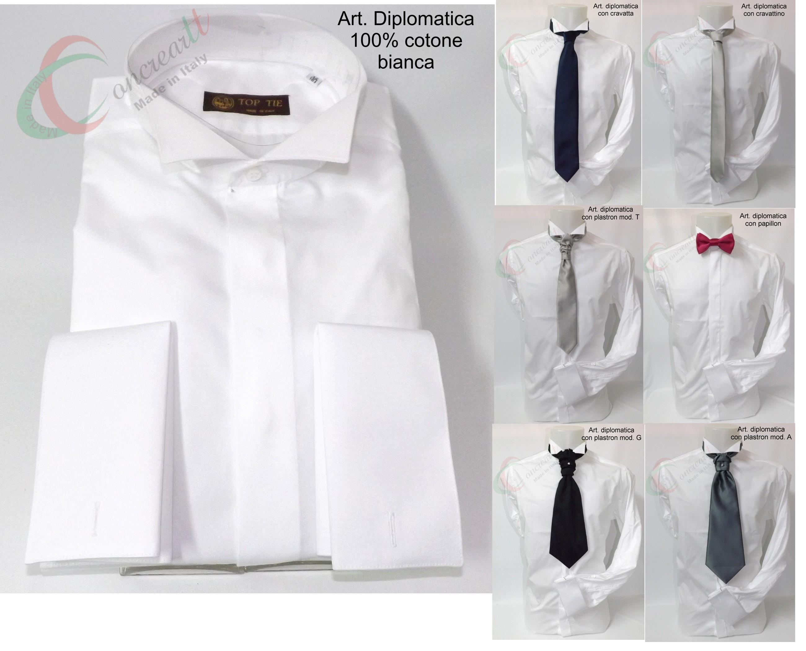 design di qualità 2e829 e84c7 Camicia diplomatica bianca uomo sartoriale italiana collo ...