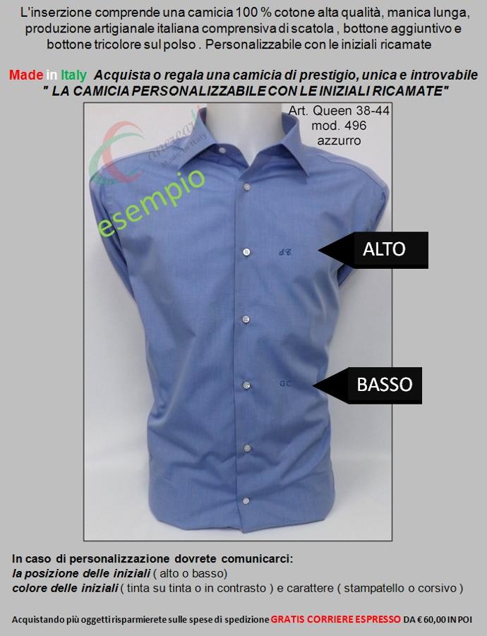 the best attitude 60873 da184 Dettagli su Camicia uomo classica sartoriale collo francese  personalizzabile con iniziali
